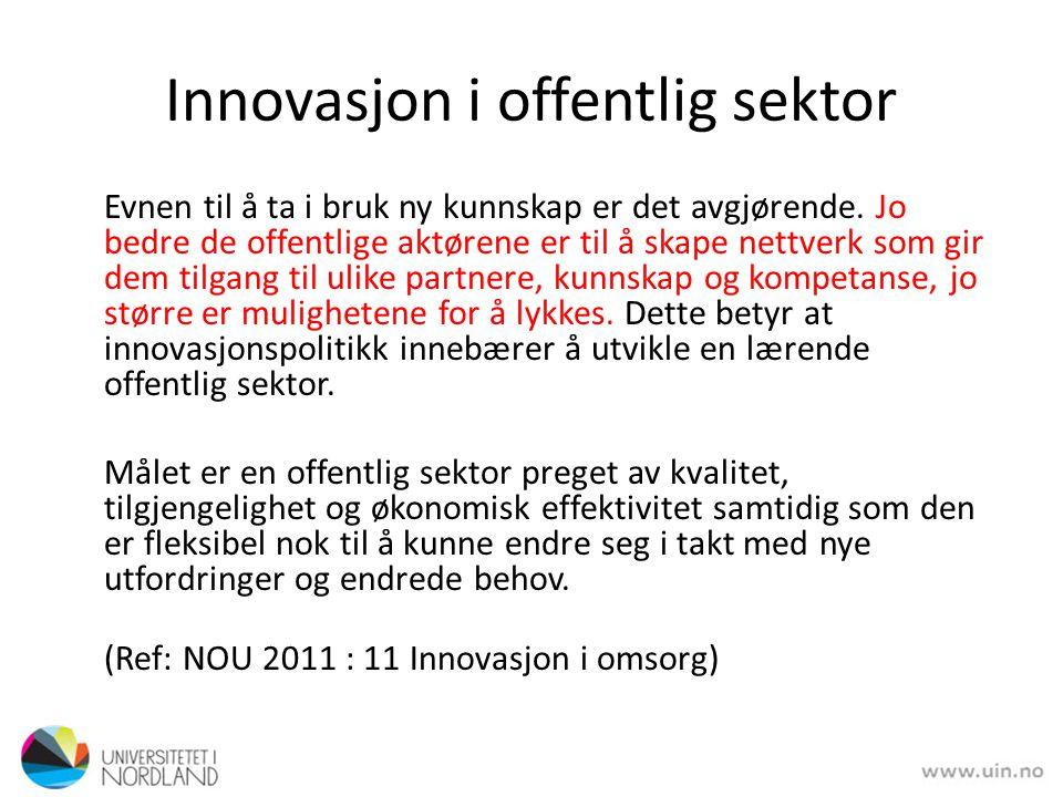 Innovasjon i offentlig sektor Evnen til å ta i bruk ny kunnskap er det avgjørende. Jo bedre de offentlige aktørene er til å skape nettverk som gir dem