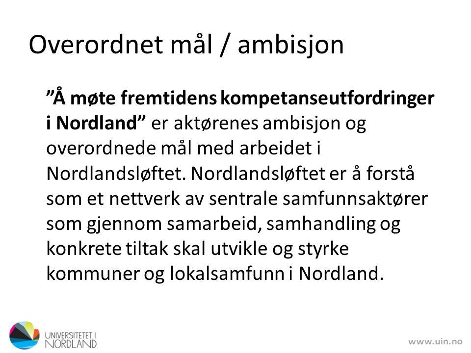 """Overordnet mål / ambisjon """"Å møte fremtidens kompetanseutfordringer i Nordland"""" er aktørenes ambisjon og overordnede mål med arbeidet i Nordlandsløfte"""