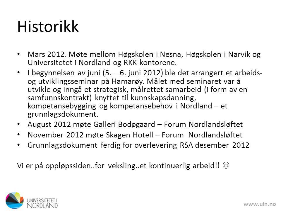 • Mars 2012. Møte mellom Høgskolen i Nesna, Høgskolen i Narvik og Universitetet i Nordland og RKK-kontorene. • I begynnelsen av juni (5. – 6. juni 201