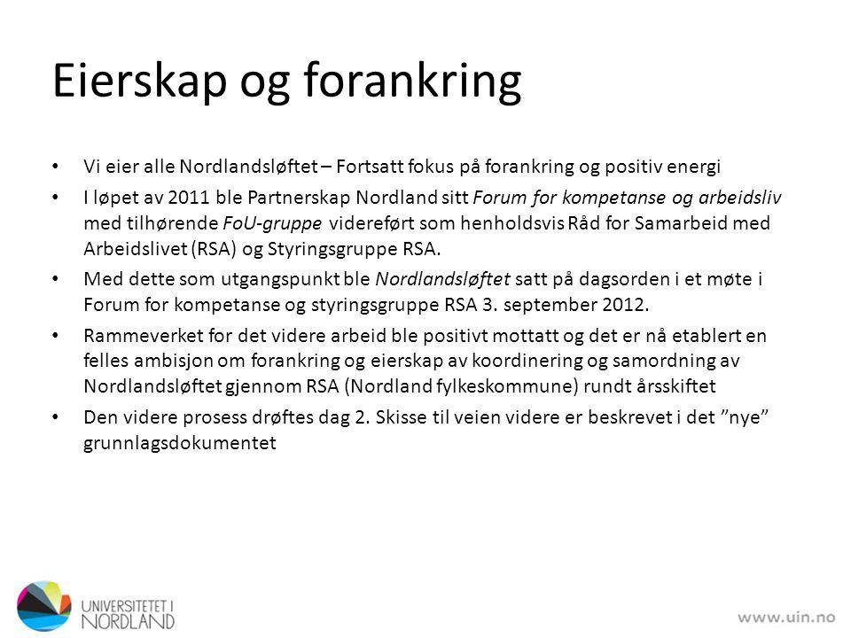 Eierskap og forankring • Vi eier alle Nordlandsløftet – Fortsatt fokus på forankring og positiv energi • I løpet av 2011 ble Partnerskap Nordland sitt