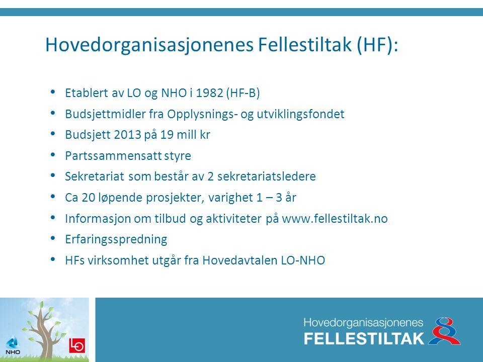 Hovedorganisasjonenes Fellestiltak (HF): • Etablert av LO og NHO i 1982 (HF-B) • Budsjettmidler fra Opplysnings- og utviklingsfondet • Budsjett 2013 p