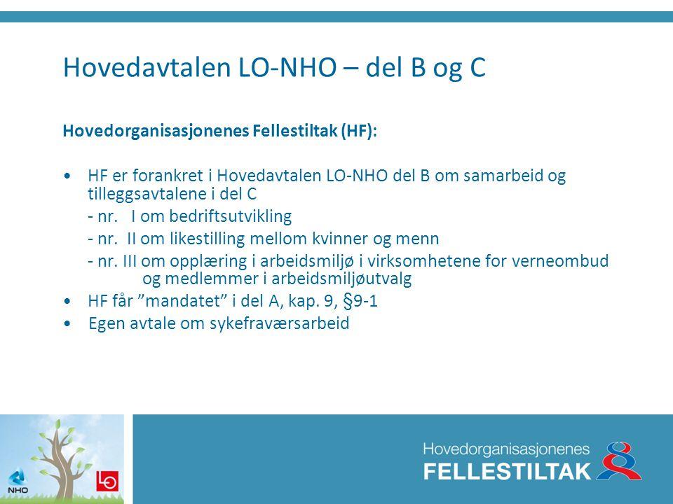 Hovedavtalen LO-NHO – del B og C Hovedorganisasjonenes Fellestiltak (HF): •HF er forankret i Hovedavtalen LO-NHO del B om samarbeid og tilleggsavtalen