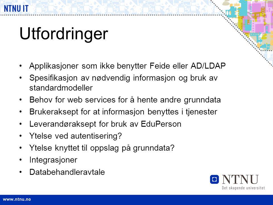 Utfordringer •Applikasjoner som ikke benytter Feide eller AD/LDAP •Spesifikasjon av nødvendig informasjon og bruk av standardmodeller •Behov for web s