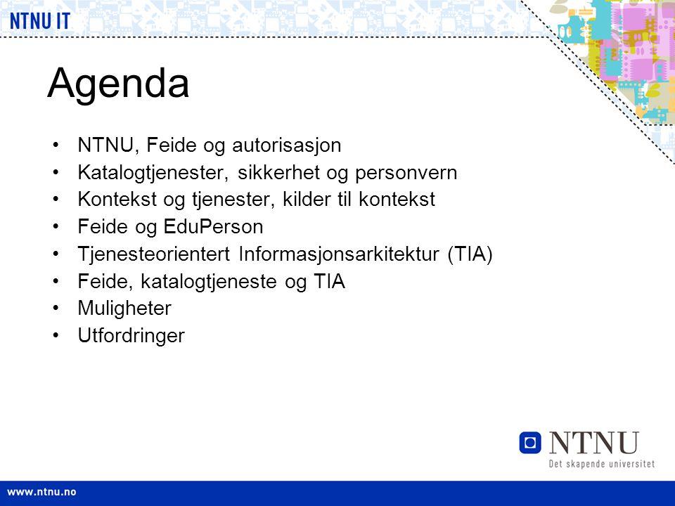 Agenda •NTNU, Feide og autorisasjon •Katalogtjenester, sikkerhet og personvern •Kontekst og tjenester, kilder til kontekst •Feide og EduPerson •Tjenes