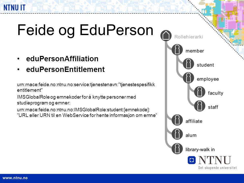 Feide og EduPerson •eduPersonAffiliation •eduPersonEntitlement urn:mace:feide.no:ntnu.no:service:tjenestenavn: