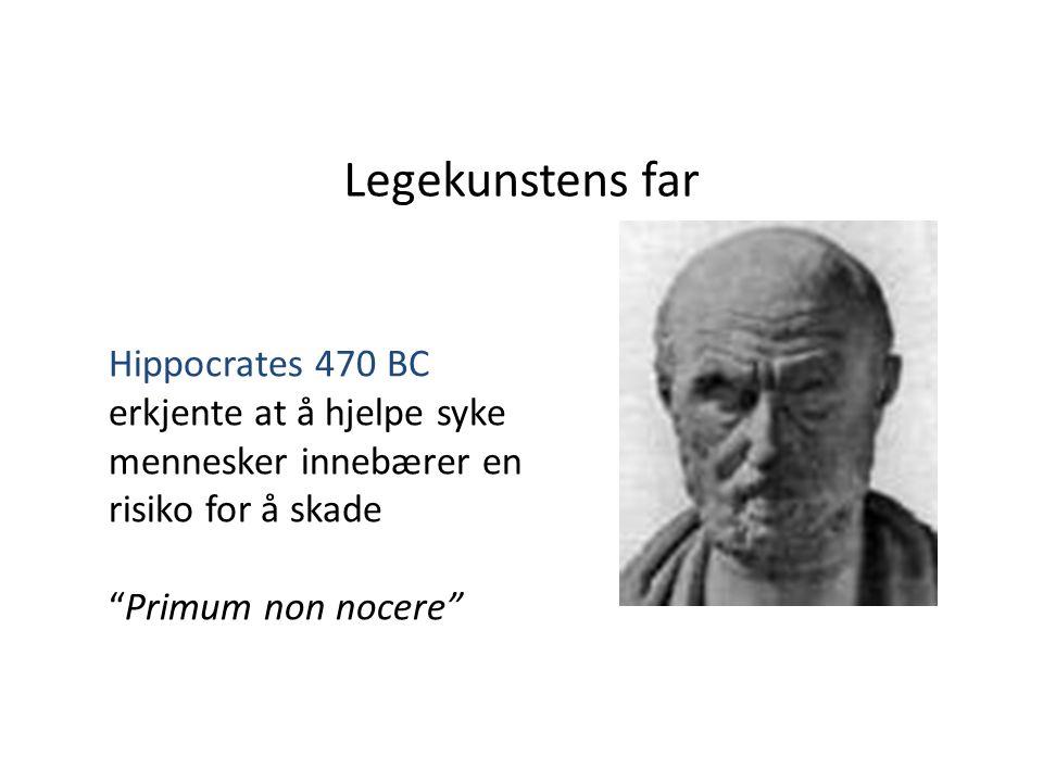 """Legekunstens far Hippocrates 470 BC erkjente at å hjelpe syke mennesker innebærer en risiko for å skade """"Primum non nocere"""""""