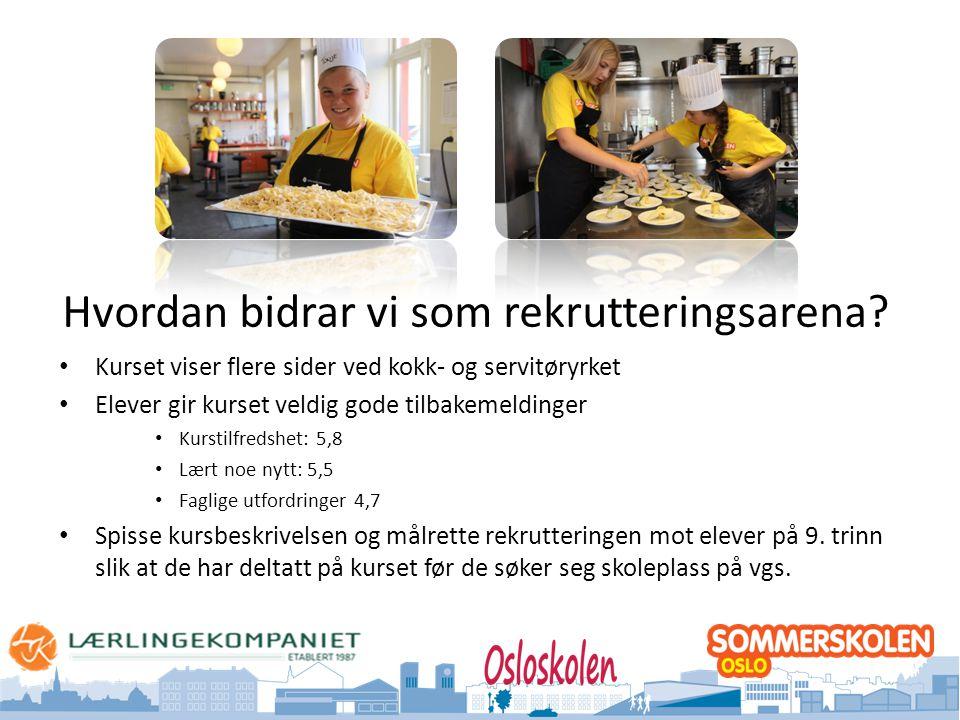 Oslo kommune Utdanningsetaten Hvordan bidrar vi som rekrutteringsarena? • Kurset viser flere sider ved kokk- og servitøryrket • Elever gir kurset veld