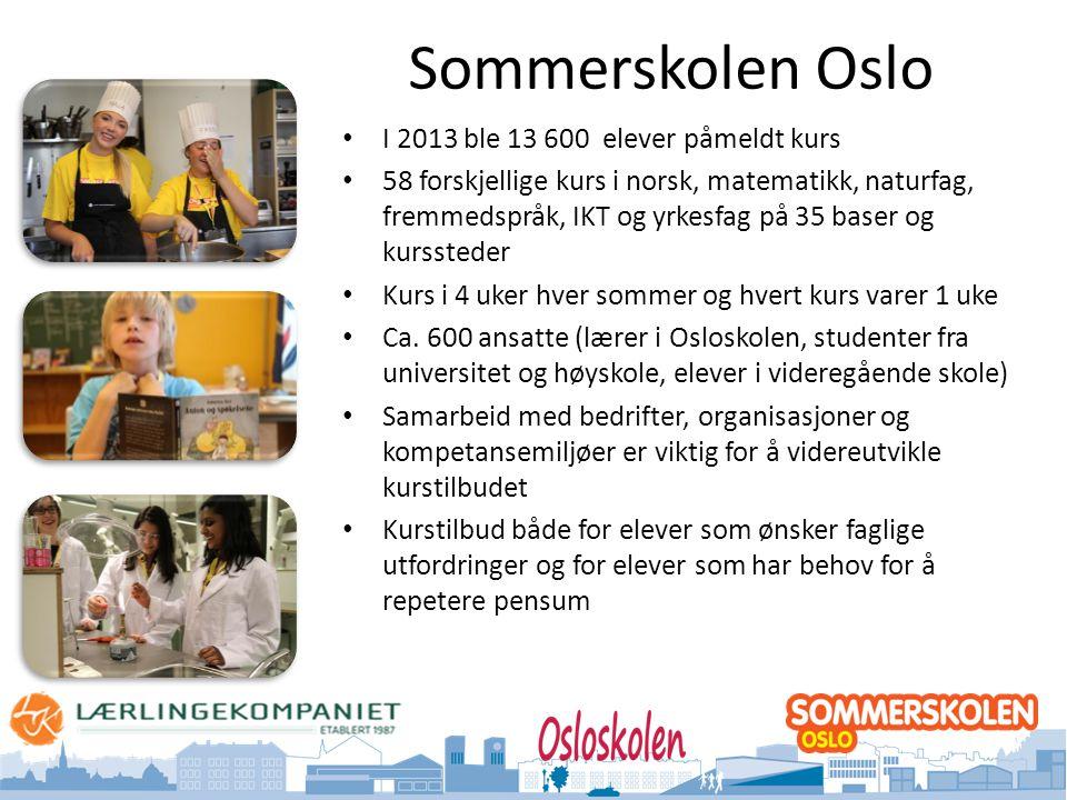 Oslo kommune Utdanningsetaten Sommerskolen Oslo • I 2013 ble 13 600 elever påmeldt kurs • 58 forskjellige kurs i norsk, matematikk, naturfag, fremmedspråk, IKT og yrkesfag på 35 baser og kurssteder • Kurs i 4 uker hver sommer og hvert kurs varer 1 uke • Ca.