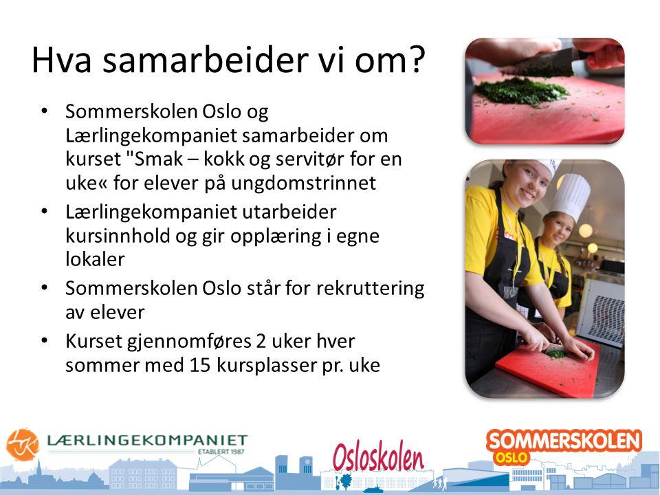 Oslo kommune Utdanningsetaten Hva samarbeider vi om? • Sommerskolen Oslo og Lærlingekompaniet samarbeider om kurset