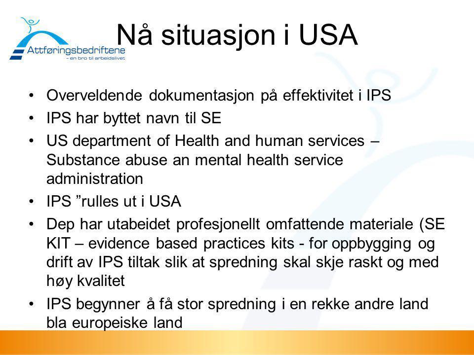 Nå situasjon i USA •Overveldende dokumentasjon på effektivitet i IPS •IPS har byttet navn til SE •US department of Health and human services – Substan