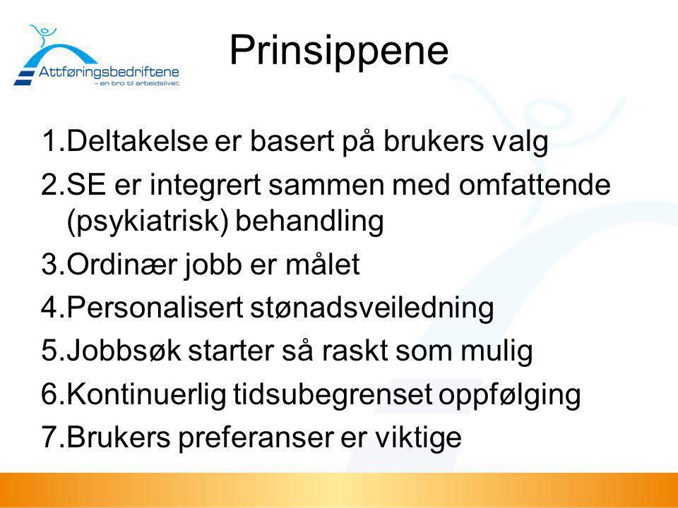 Prinsippene 1.Deltakelse er basert på brukers valg 2.SE er integrert sammen med omfattende (psykiatrisk) behandling 3.Ordinær jobb er målet 4.Personal