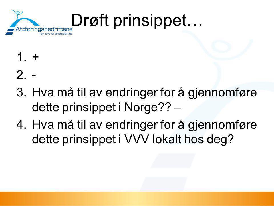 Drøft prinsippet… 1.+ 2.- 3.Hva må til av endringer for å gjennomføre dette prinsippet i Norge?? – 4.Hva må til av endringer for å gjennomføre dette p