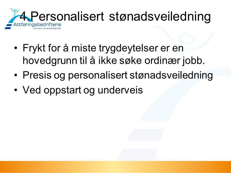 4.Personalisert stønadsveiledning •Frykt for å miste trygdeytelser er en hovedgrunn til å ikke søke ordinær jobb. •Presis og personalisert stønadsveil