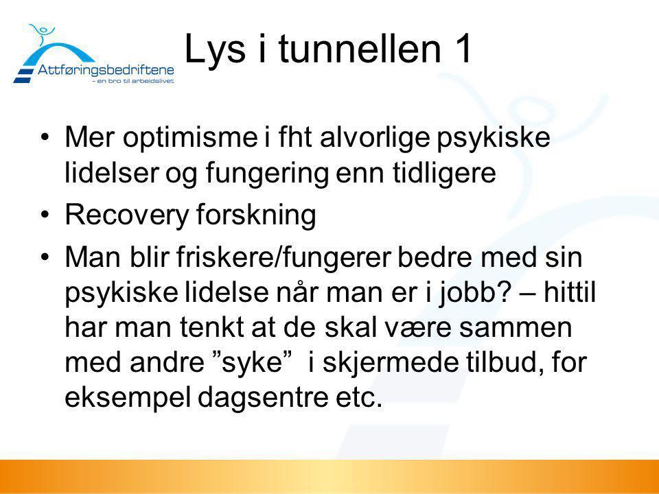 Lys i tunnellen 1 •Mer optimisme i fht alvorlige psykiske lidelser og fungering enn tidligere •Recovery forskning •Man blir friskere/fungerer bedre me