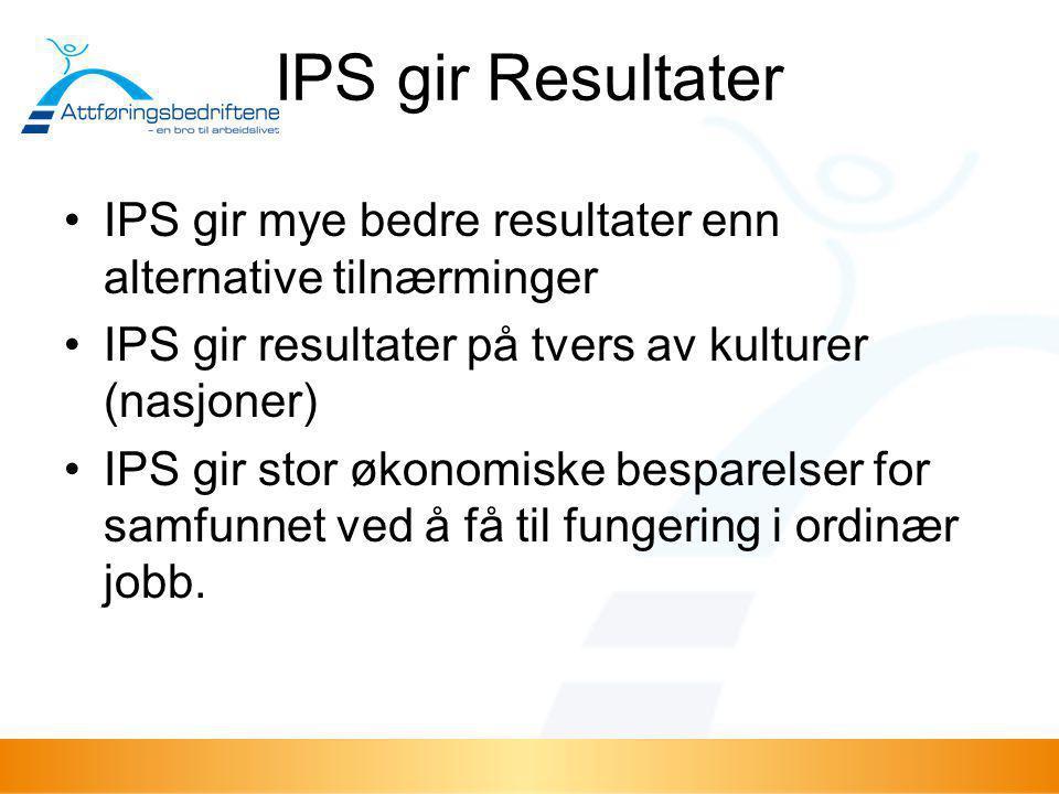 Individual placement and support (IPS) I •begynnelsen av 1990-tallet •Alvorlige psykiske lidelser •faget psykiatrisk rehabilitering –behandling ikke nok –jobb sentralt –Sentrale navn: Gary R.