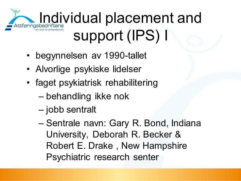 Individual placement and support (IPS) I •begynnelsen av 1990-tallet •Alvorlige psykiske lidelser •faget psykiatrisk rehabilitering –behandling ikke n