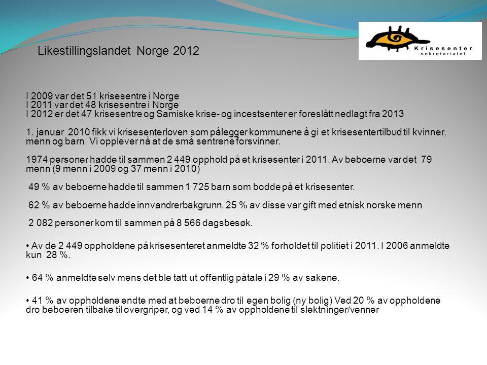 Likestillingslandet Norge 2012 I 2009 var det 51 krisesentre i Norge I 2011 var det 48 krisesentre i Norge I 2012 er det 47 krisesentre og Samiske kri
