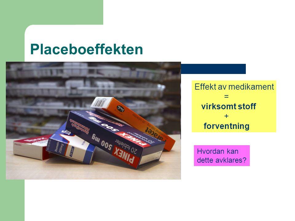 Placeboeffekten Effekt av medikament = virksomt stoff + forventning Hvordan kan dette avklares?