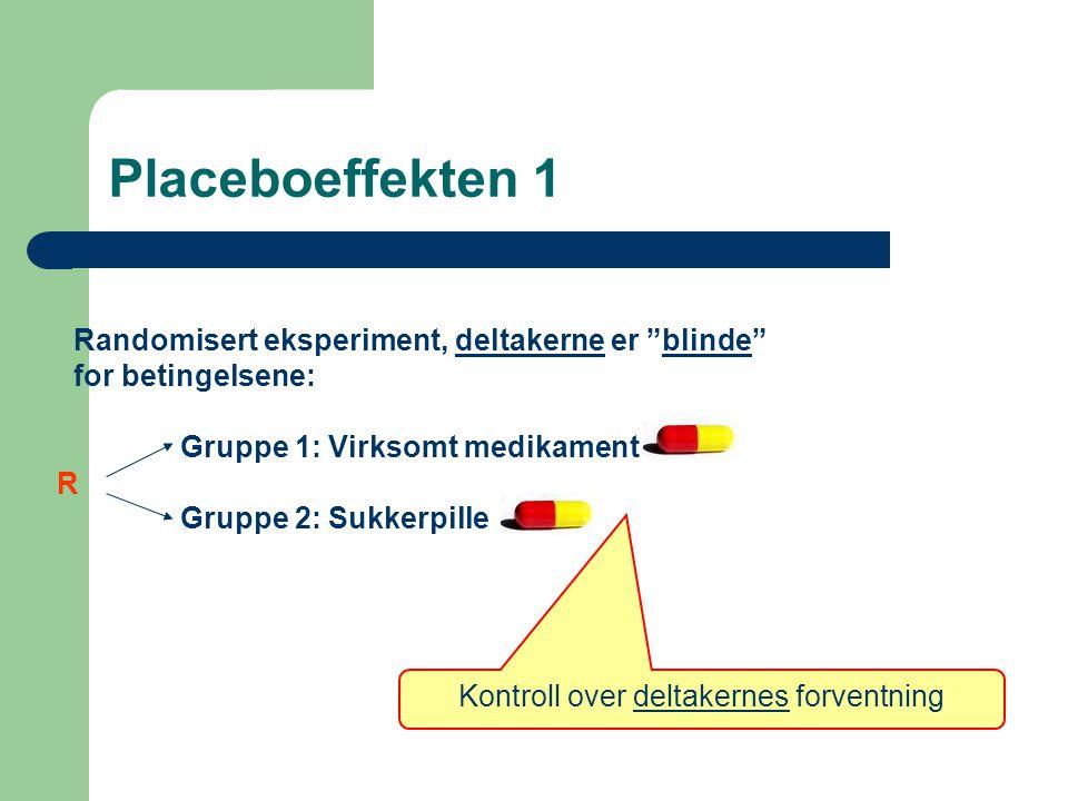"""Placeboeffekten 1 Randomisert eksperiment, deltakerne er """"blinde"""" for betingelsene: Gruppe 1: Virksomt medikament Gruppe 2: Sukkerpille R Kontroll ove"""