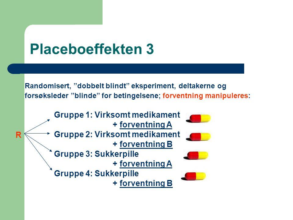 """Placeboeffekten 3 Randomisert, """"dobbelt blindt"""" eksperiment, deltakerne og forsøksleder """"blinde"""" for betingelsene; forventning manipuleres: Gruppe 1:"""