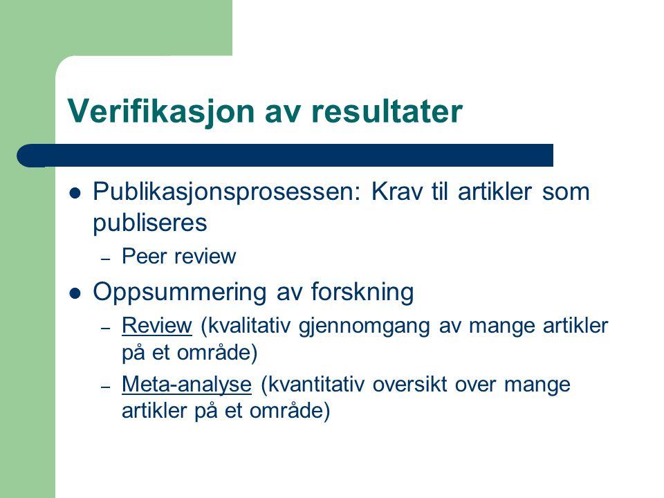 Verifikasjon av resultater  Publikasjonsprosessen: Krav til artikler som publiseres – Peer review  Oppsummering av forskning – Review (kvalitativ gj
