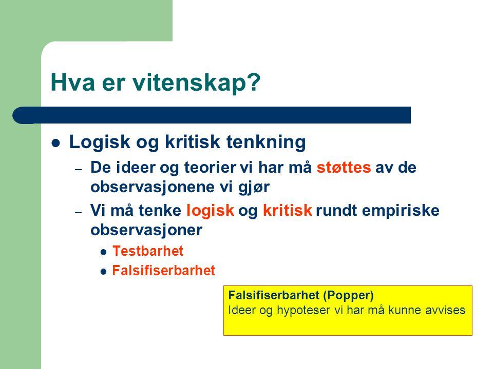 Falsifiserbarhet Værprofet Hans Storm: Jeg spår en kald sommer i Tromsø Psykolog Heidi Krankenhaus: Jeg anbefaler fiolterapi.