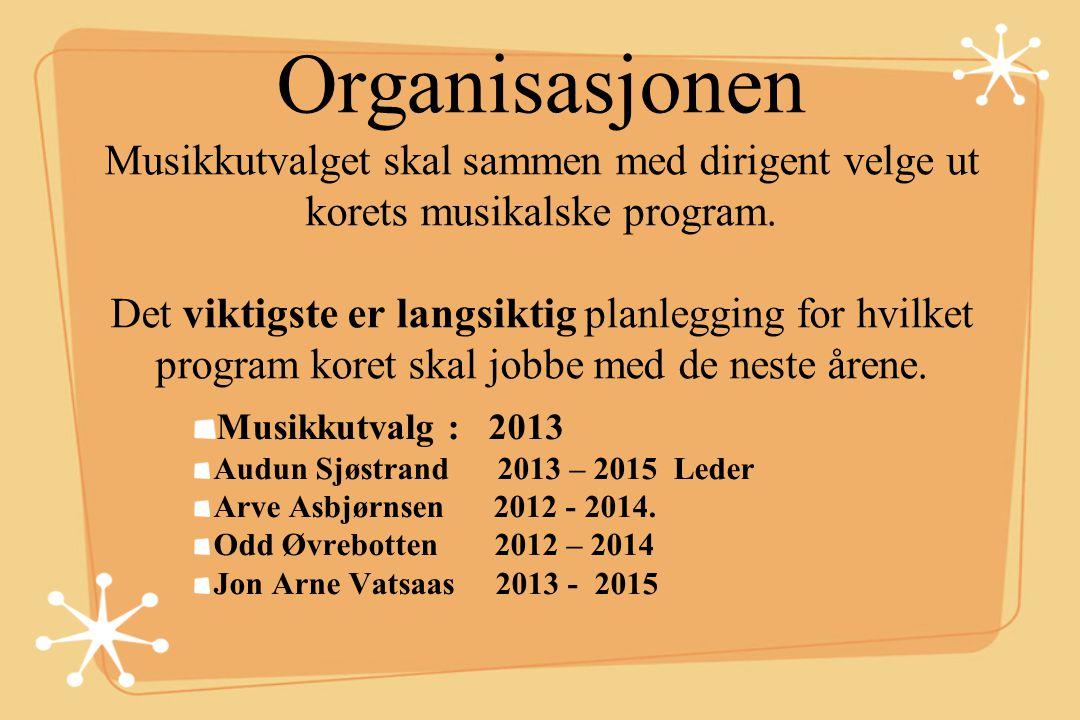 Organisasjonen Musikkutvalget skal sammen med dirigent velge ut korets musikalske program. Det viktigste er langsiktig planlegging for hvilket program