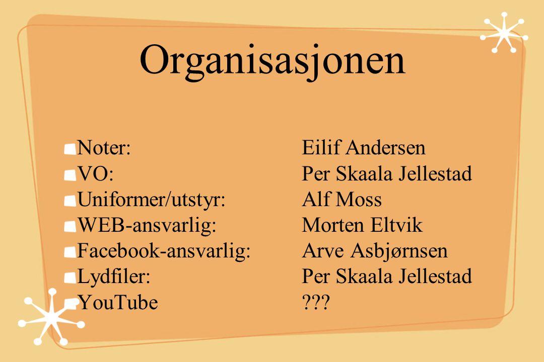 Organisasjonen Noter: Eilif Andersen VO: Per Skaala Jellestad Uniformer/utstyr: Alf Moss WEB-ansvarlig: Morten Eltvik Facebook-ansvarlig: Arve Asbjørn