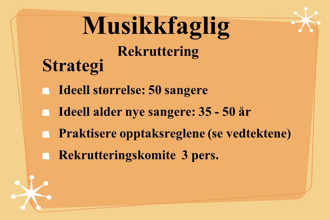 Musikkfaglig Rekruttering Strategi Ideell størrelse: 50 sangere Ideell alder nye sangere: 35 - 50 år Praktisere opptaksreglene (se vedtektene) Rekrutt