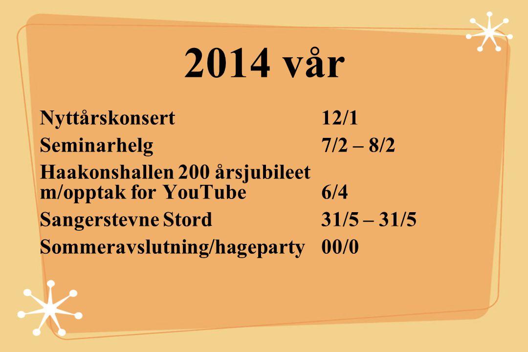 2014 vår Nyttårskonsert 12/1 Seminarhelg 7/2 – 8/2 Haakonshallen 200 årsjubileet m/opptak for YouTube 6/4 Sangerstevne Stord 31/5 – 31/5 Sommeravslutn
