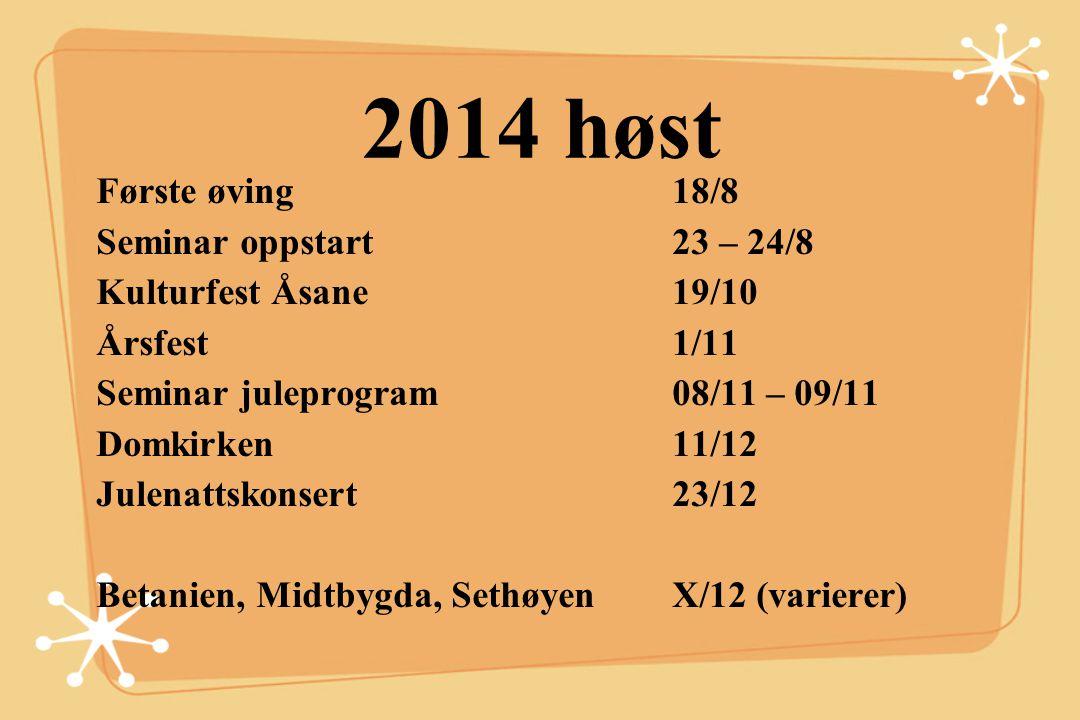 2014 høst Første øving 18/8 Seminar oppstart 23 – 24/8 Kulturfest Åsane19/10 Årsfest 1/11 Seminar juleprogram08/11 – 09/11 Domkirken11/12 Julenattskon