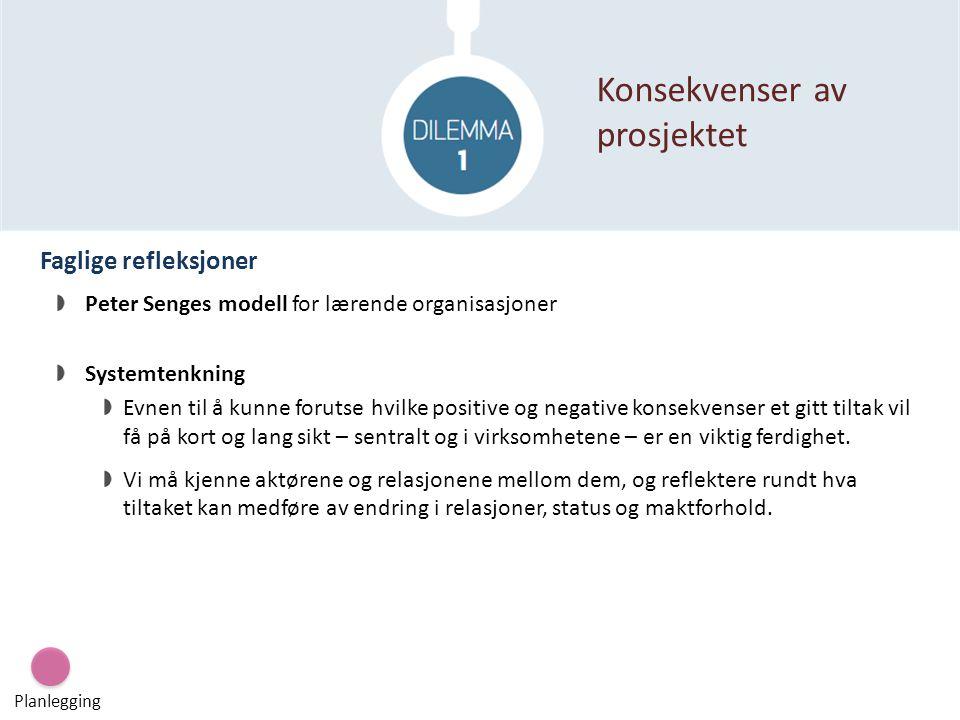 Faglige refleksjoner Konsekvenser av prosjektet Planlegging Peter Senges modell for lærende organisasjoner Systemtenkning Evnen til å kunne forutse hv
