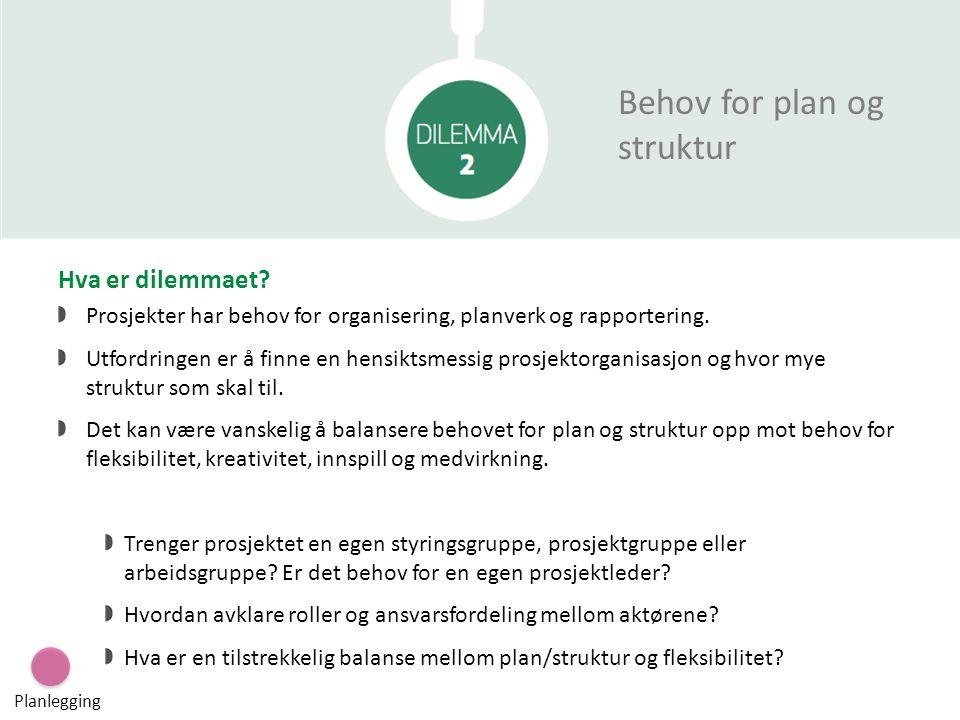 Behov for plan og struktur Hva er dilemmaet? Prosjekter har behov for organisering, planverk og rapportering. Utfordringen er å finne en hensiktsmessi