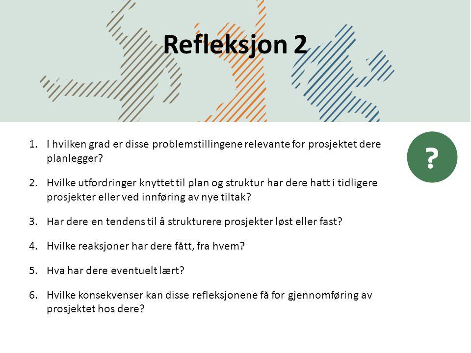 Refleksjon 2 DatoDirektoratet for forvaltning og IKT 1.I hvilken grad er disse problemstillingene relevante for prosjektet dere planlegger? 2.Hvilke u