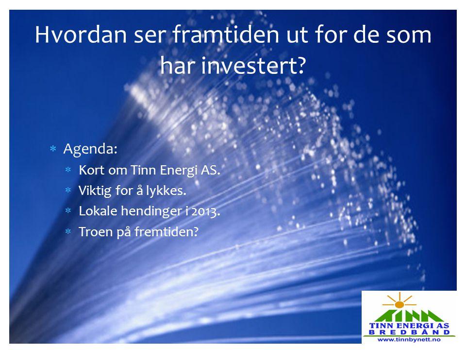  Agenda:  Kort om Tinn Energi AS.  Viktig for å lykkes.  Lokale hendinger i 2013.  Troen på fremtiden? Hvordan ser framtiden ut for de som har in