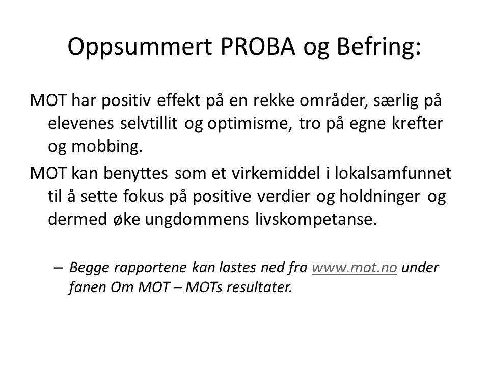 Oppsummert PROBA og Befring: MOT har positiv effekt på en rekke områder, særlig på elevenes selvtillit og optimisme, tro på egne krefter og mobbing. M