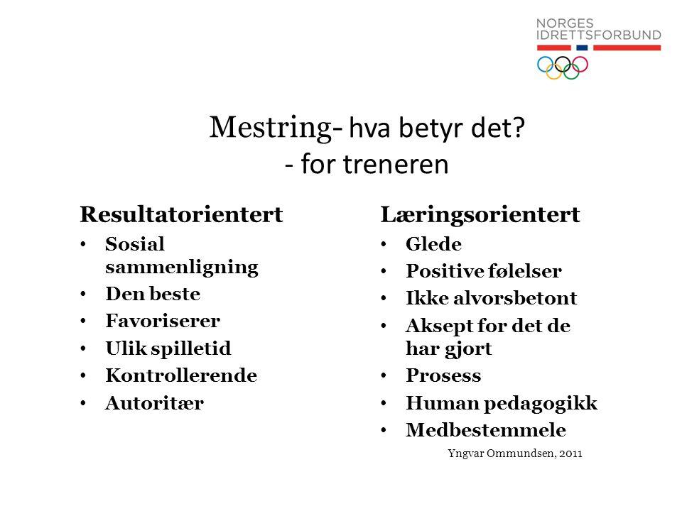 Mestring- hva betyr det? - for treneren Resultatorientert • Sosial sammenligning • Den beste • Favoriserer • Ulik spilletid • Kontrollerende • Autorit
