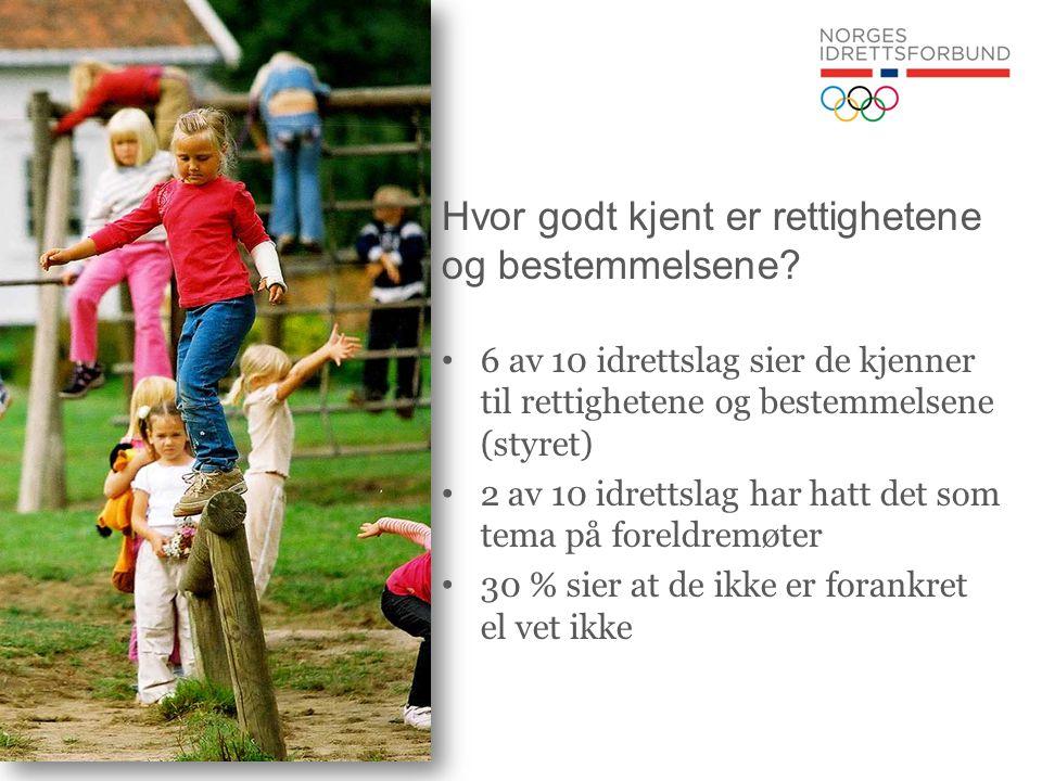 Hvor godt kjent er rettighetene og bestemmelsene? • 6 av 10 idrettslag sier de kjenner til rettighetene og bestemmelsene (styret) • 2 av 10 idrettslag