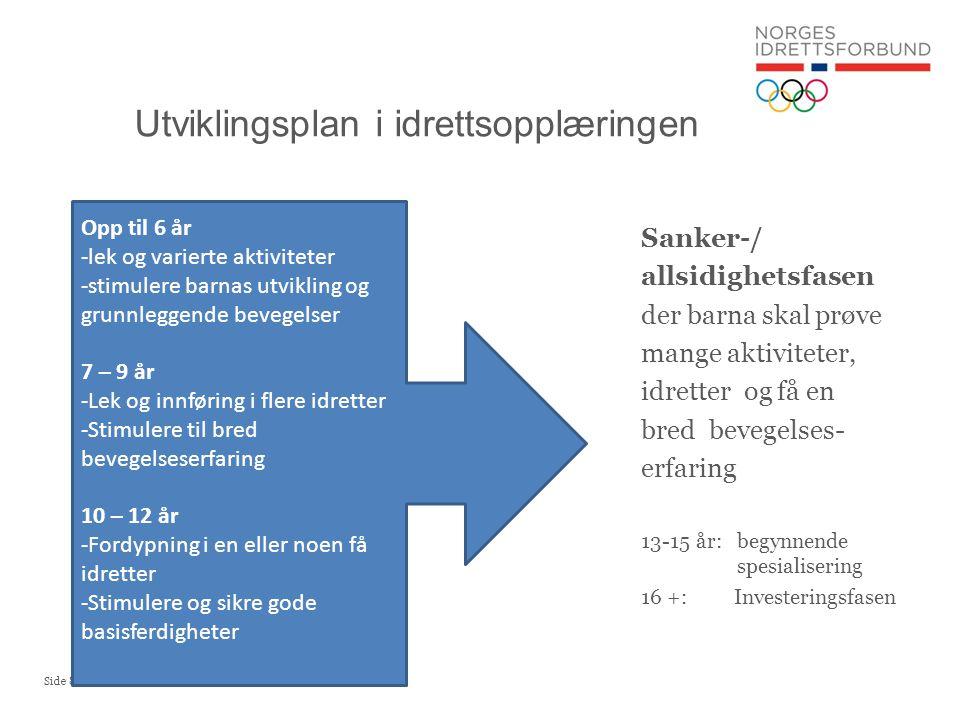 Side 8 Utviklingsplan i idrettsopplæringen Sanker-/ allsidighetsfasen der barna skal prøve mange aktiviteter, idretter og få en bred bevegelses- erfar