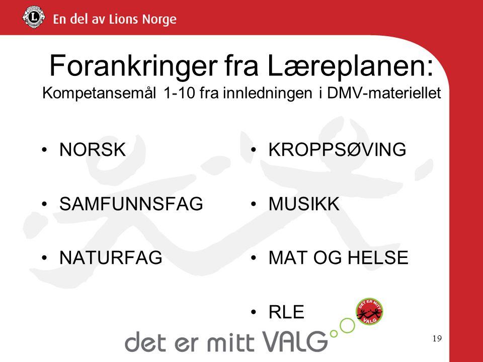 Forankringer fra Læreplanen: Kompetansemål 1-10 fra innledningen i DMV-materiellet •NORSK •SAMFUNNSFAG •NATURFAG •KROPPSØVING •MUSIKK •MAT OG HELSE •R