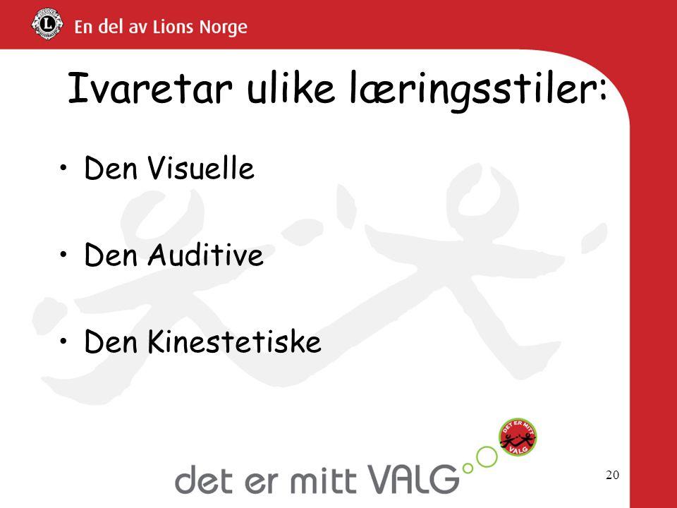 Ivaretar ulike læringsstiler: •Den Visuelle •Den Auditive •Den Kinestetiske 20
