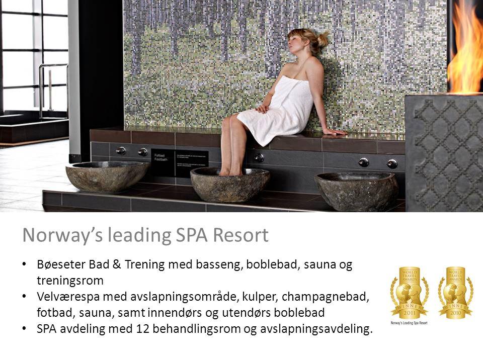 SPA Norway's leading SPA Resort • Bøeseter Bad & Trening med basseng, boblebad, sauna og treningsrom • Velværespa med avslapningsområde, kulper, champagnebad, fotbad, sauna, samt innendørs og utendørs boblebad • SPA avdeling med 12 behandlingsrom og avslapningsavdeling.