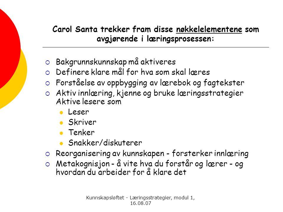 Kunnskapsløftet - Læringsstrategier, modul 1, 16.08.07 Carol Santa trekker fram disse nøkkelelementene som avgjørende i læringsprosessen:  Bakgrunnsk