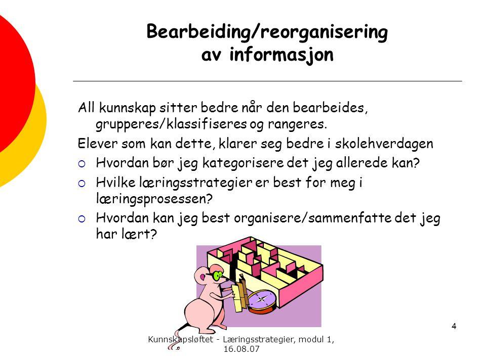 Kunnskapsløftet - Læringsstrategier, modul 1, 16.08.07 Bearbeiding/reorganisering av informasjon All kunnskap sitter bedre når den bearbeides, grupper