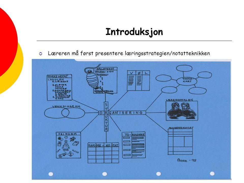 Kunnskapsløftet - Læringsstrategier, modul 1, 16.08.07 Introduksjon  Læreren må først presentere læringsstrategien/notatteknikken