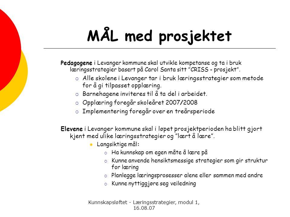 Kunnskapsløftet - Læringsstrategier, modul 1, 16.08.07 MÅL med prosjektet Pedagogene i Levanger kommune skal utvikle kompetanse og ta i bruk læringsst