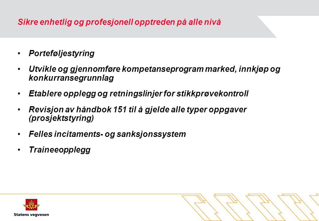 Sikre enhetlig og profesjonell opptreden på alle nivå •Porteføljestyring •Utvikle og gjennomføre kompetanseprogram marked, innkjøp og konkurransegrunnlag •Etablere opplegg og retningslinjer for stikkprøvekontroll •Revisjon av håndbok 151 til å gjelde alle typer oppgaver (prosjektstyring) •Felles incitaments- og sanksjonssystem •Traineeopplegg