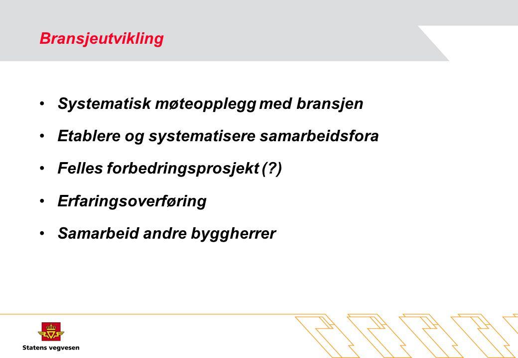 Bransjeutvikling •Systematisk møteopplegg med bransjen •Etablere og systematisere samarbeidsfora •Felles forbedringsprosjekt (?) •Erfaringsoverføring •Samarbeid andre byggherrer