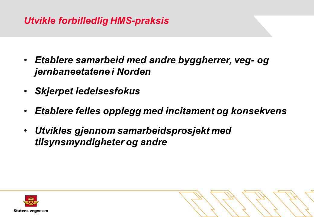 Utvikle forbilledlig HMS-praksis •Etablere samarbeid med andre byggherrer, veg- og jernbaneetatene i Norden •Skjerpet ledelsesfokus •Etablere felles o