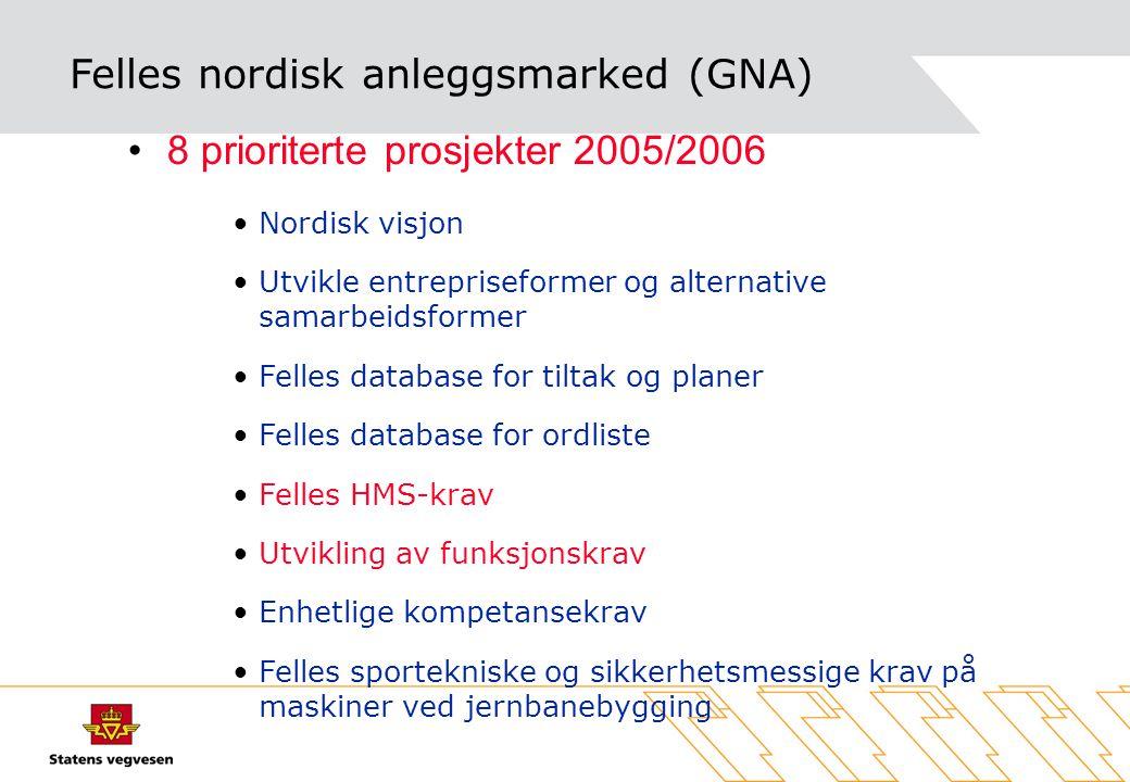 Felles nordisk anleggsmarked (GNA) •8 prioriterte prosjekter 2005/2006 •Nordisk visjon •Utvikle entrepriseformer og alternative samarbeidsformer •Fell